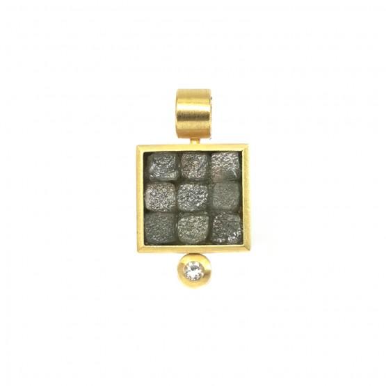 Rohdiamant Gelbgoldanhänger mit Brillant
