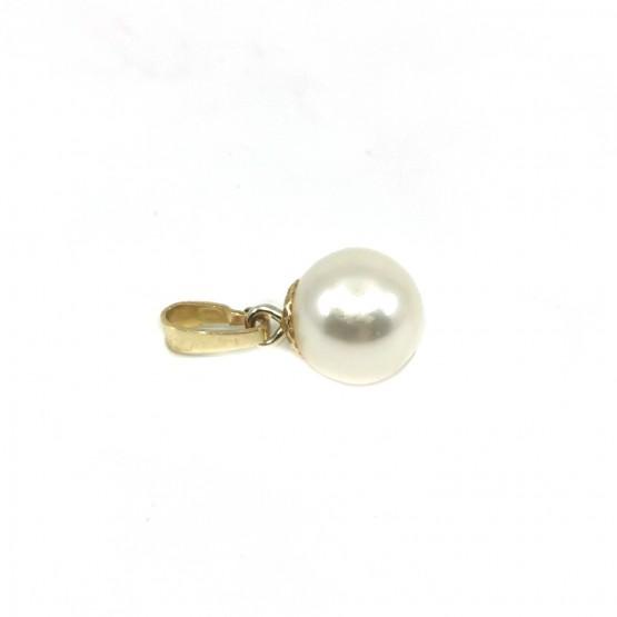 Schlichter Perlen Gelbgoldanhänger