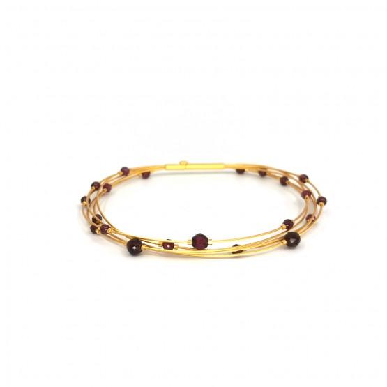 "Armband ""roter Granat"" goldplattiert"