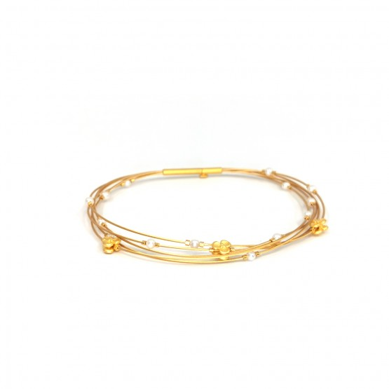 """Armband """"Perlen und Blüten"""" goldplattiert"""