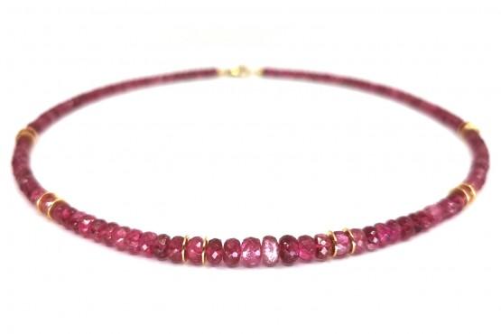 Pinke Turmalin Goldkette