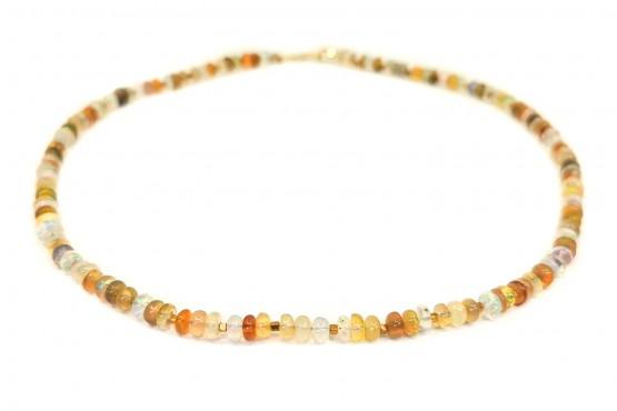 Opalkette rundelle mit Gelbgoldelementen