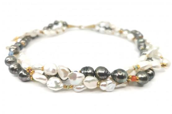 Dreireihige Perlen - Unikatkette