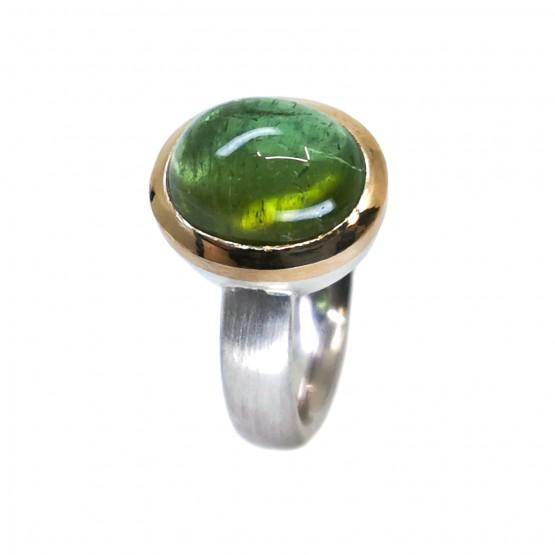 Grüner Turmalincabochon Ring