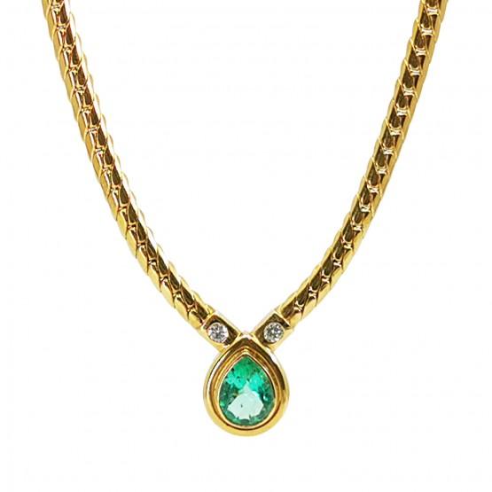 Smaragdtropfen Goldkette