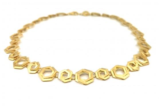 """Halsschmuck """"Hexagon"""" Silber goldplattiert"""