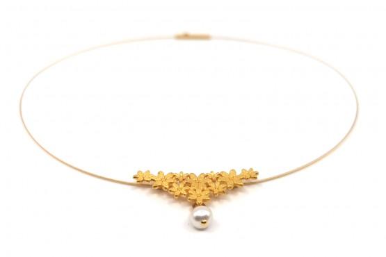 """Halsreif """"Blütenanhänger mit Perle"""" goldplattiert"""