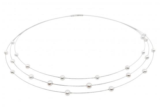 Weißgoldhalsreif mit Perlen