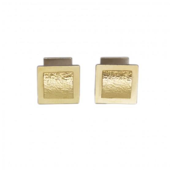 Schichtblech Manschettenknöpfe/ Gold und Silber