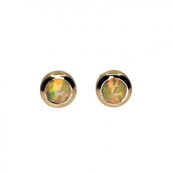 Runde Opal Gelbgoldohrstecker