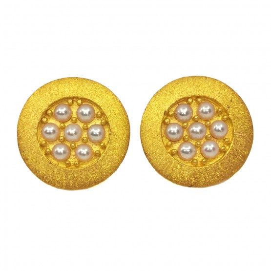 Festlicher Perlenohrstecker Silber goldplattiert