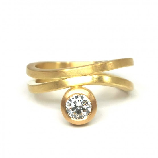 Ring mit Brillant 0,5 ct in 750/- Gelbgold