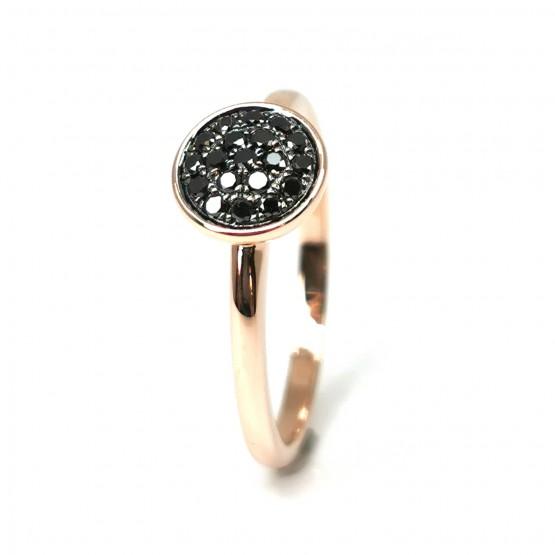 Rotgoldring mit schwarzen Diamanten