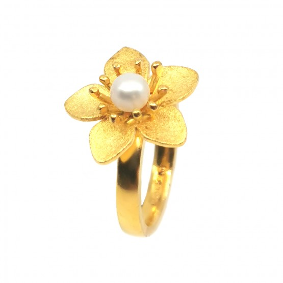 Perlen Blüte Silberring