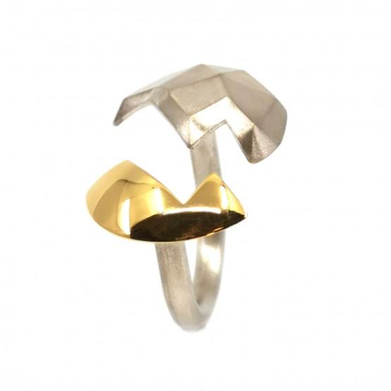 Offener 3D-Ring Silber