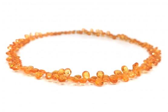 Mandaringranatkette Tropfen facettiert ca. 8-5 mm