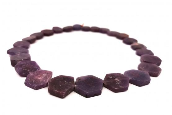 Rubinkette sechseckige Scheiben ca. 21-12 mm matt