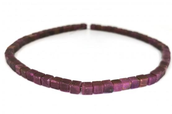 Rubinkette Würfel ca. 6,5 mm matt