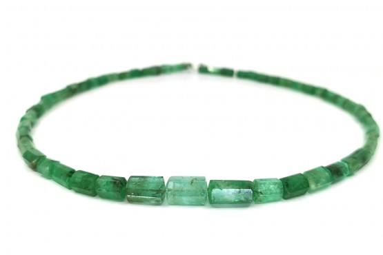 Smaragdkette Kristall facettiert ca. 8-4 mm
