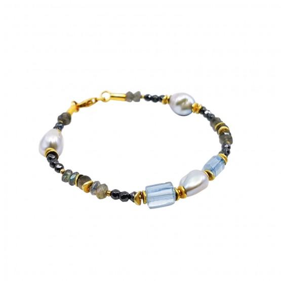Perlen Hämatit und Aqua - Unikatarmband